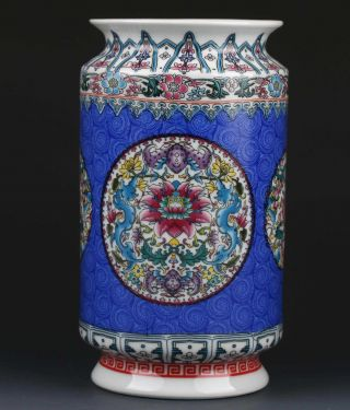 Chinese Famille Rose Porcelain Hand - Painted Flower Vase W Qianlong Mark G273 photo