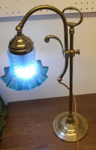 Edwardian Brass Rise And Fall Table Lamp With Blue Glass Shade.  Lovely Piece. photo