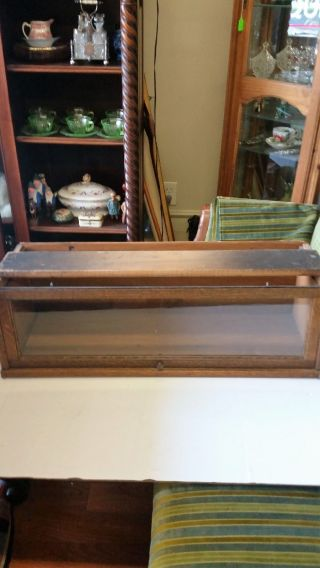Stacking Bookcase Section / Barrister Quartered Oak Wavy Glass Metal Bands photo