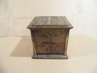 Antique National Cash Register Receipt Ticket Box Bronze Brass Finish photo