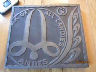 Big Pewter Andes Candies Commercial Sign Printing Block Metal Mid - Century Modern photo