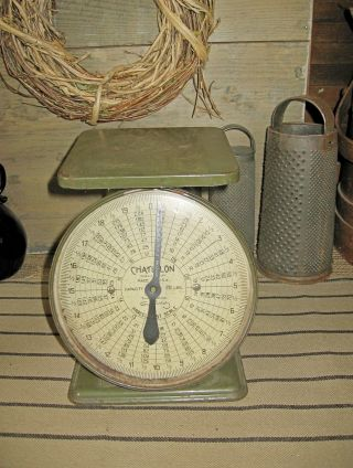 Vintage Cottage Decor Chatillon Parcel Post Scale Usa Capacity 20 Lbs 1940 Green photo