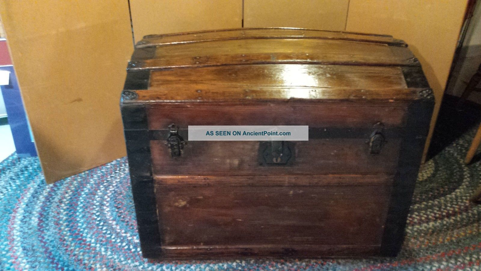 Vintage Camelback Trunk,  Storage Humpback Steamer Antique Wood Chest 1900-1950 photo