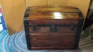 Vintage Camelback Trunk,  Storage Humpback Steamer Antique Wood Chest photo