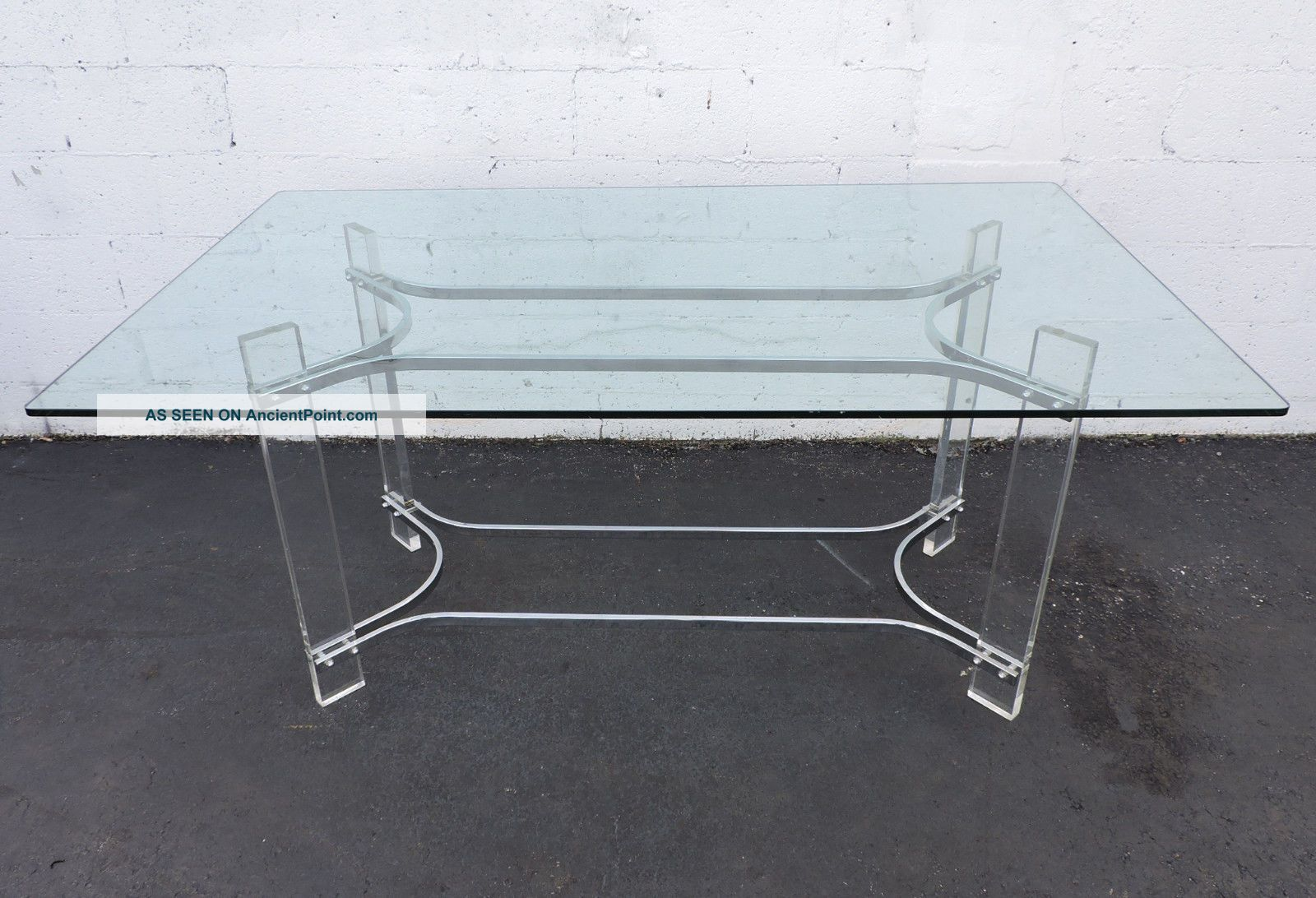 Mid - Century Modern Lucite And Chrome Glass - Top Desk / Dining Table 7317 Post-1950 photo