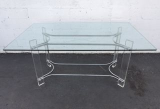 Mid - Century Modern Lucite And Chrome Glass - Top Desk / Dining Table 7317 photo