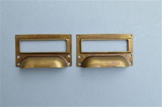 Brass Filing Cabinet Label Handle File Drawer Pull Furniture Handles Fd2 photo