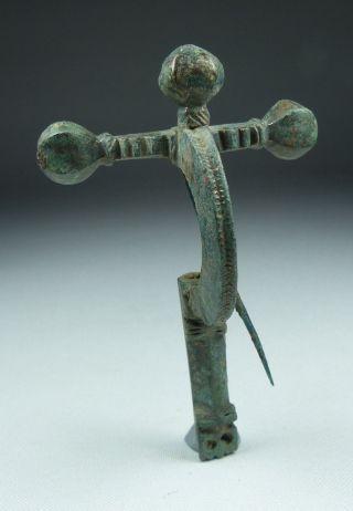 Large Ancient Roman Bronze Cross Bow Brooch 4th Ad photo