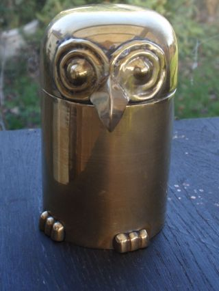 A Fantastic Art Deco Copper Teacaddy In The Form Of An Owl. photo