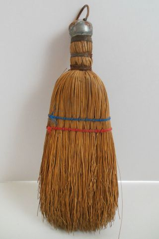 Vintage Hand Broom Straw Brush With Hook Primitive Folk Art Americana photo