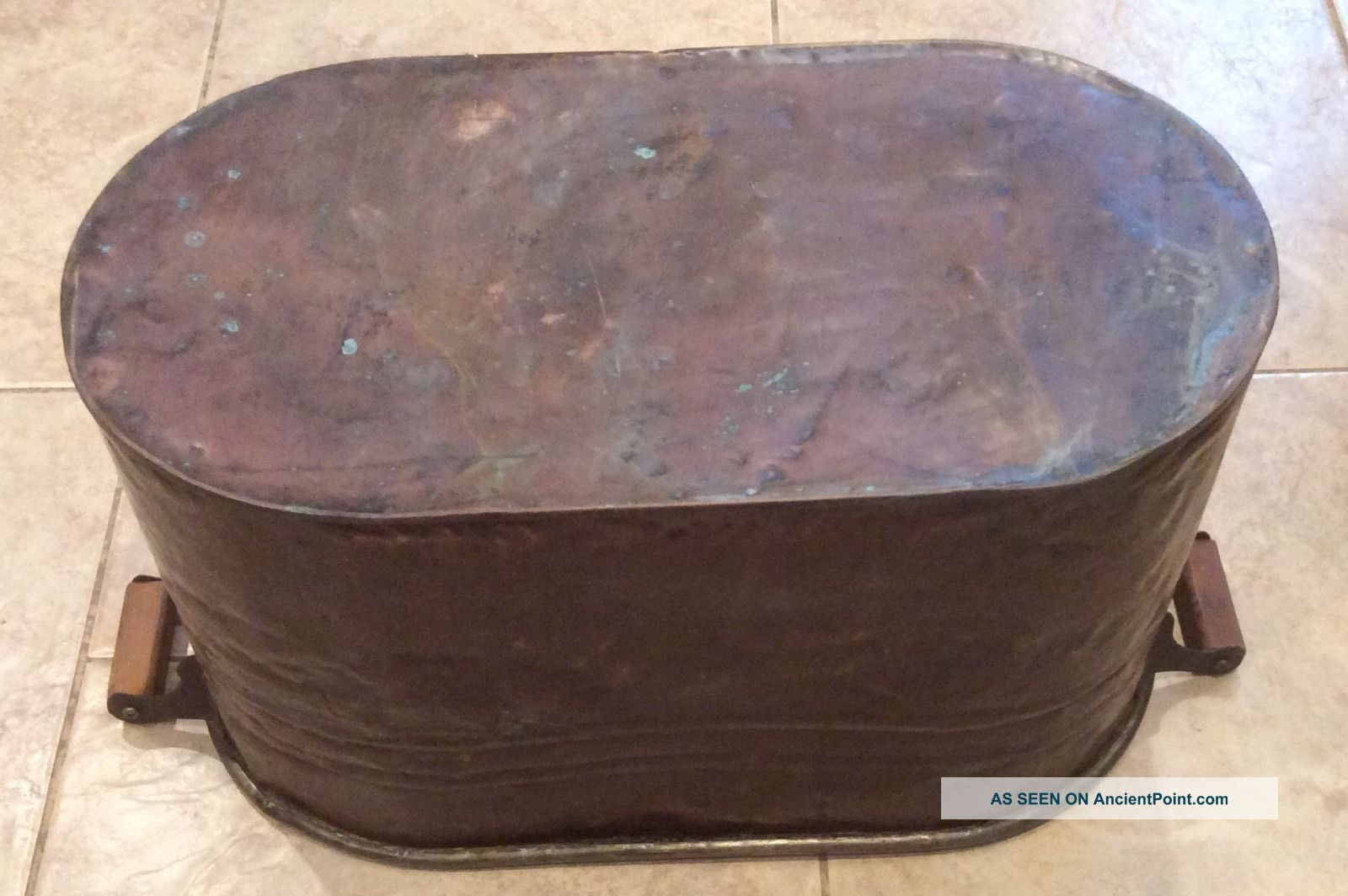 Large Wash Tub : Large Antique Copper Wash Tub Boiler W/wooden Handles Other Antique ...