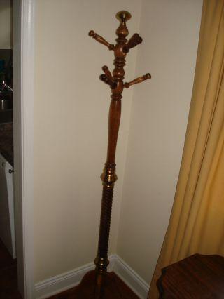 Ornate Antique Vintage Brass & Spiral Twist Wood Coat Hat Rack Hall Tree Stand photo