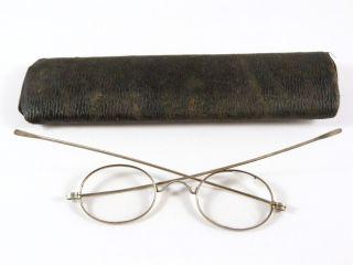 Antique Eyeglasses Oval Lenses Nickel Frames Long Temples B&l (?),  Vintage Case photo