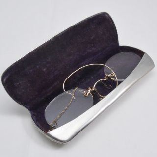 Antique 12ct Gold Filled Pince - Nez With Ear Hook,  Metal Case With Edge Design photo