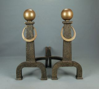 Arts & Crafts Mission Iron Fireplace Andirons Bronze Ball Top Bradley & Hubbard photo