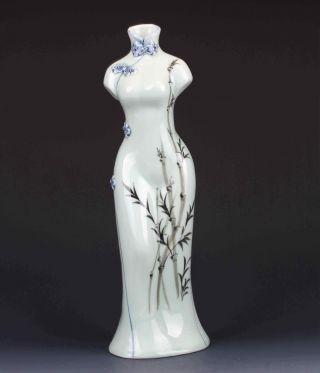 Chinese Famille Rose Porcelain Hand - Painted Bamboo Cheongsam Shape Vase G306 photo