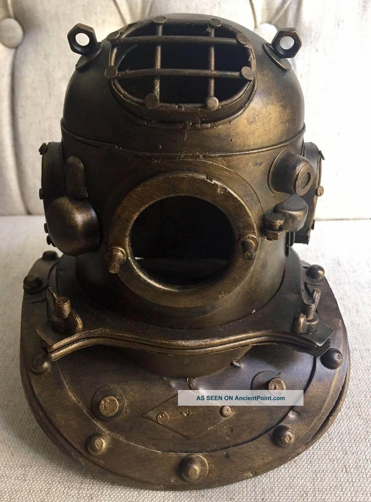 Nautical Decor Aged Bronze Scuba Diving,  Divers Helmet Diving Helmets photo