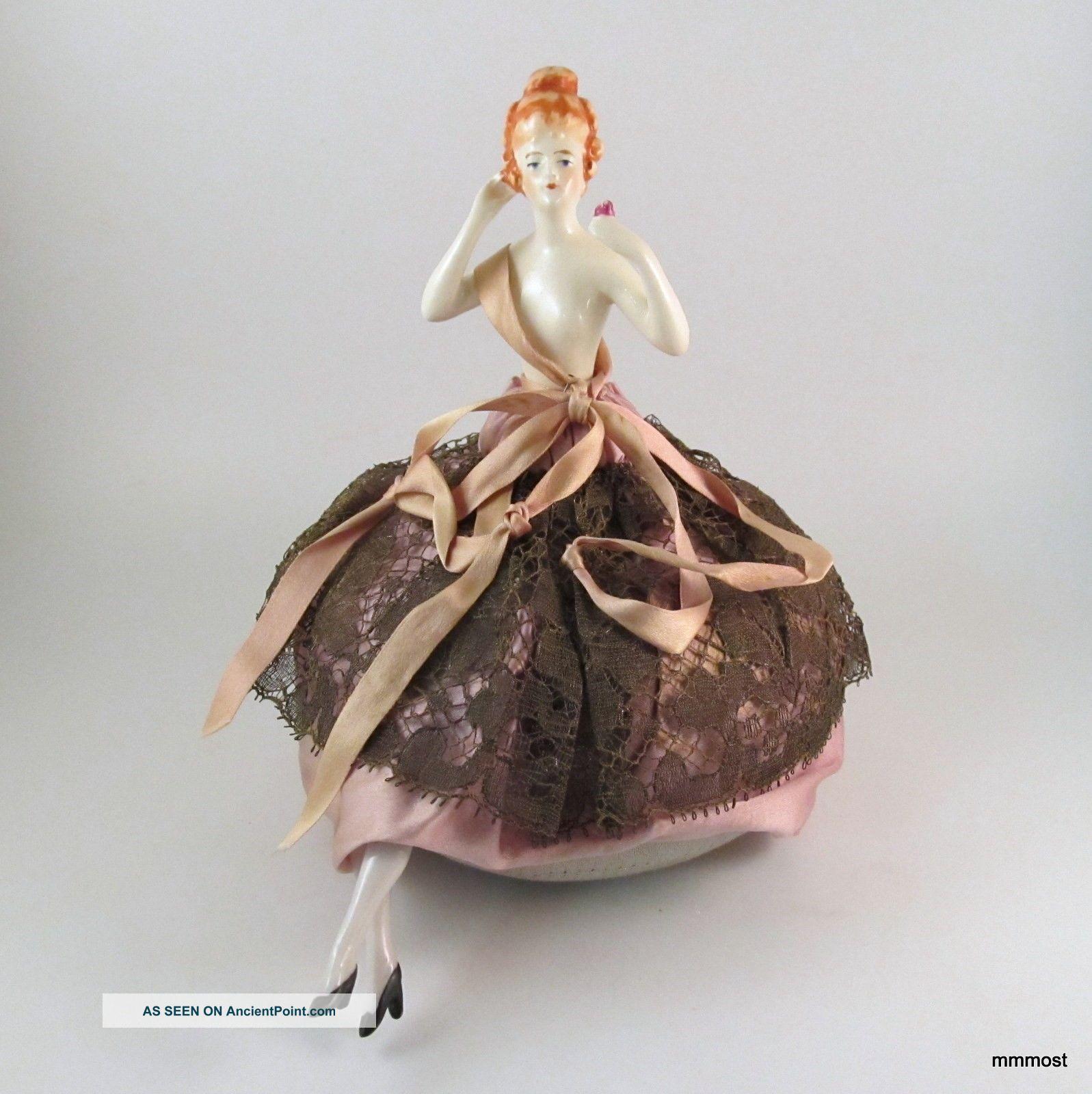 Vintage 1920s Lady Half Doll Pincushion Orange Hair Arm Out Metallic Lace Skirt Pin Cushions photo
