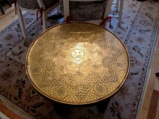 Antique Islamic Embossed Brass Top Table With Fold Flat Wooden Barley Twist Legs photo