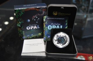 2015 Australian Opal Series Rough Scaled Python 1oz.  Silver Proof Coin W/box photo