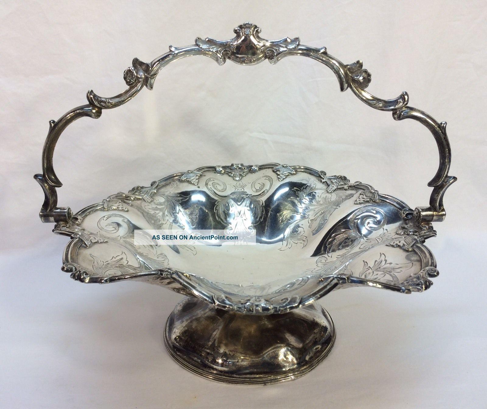 Antique James Dixon & Sons Sheffield Engraved Silver Plate Basket Bowl Baskets photo