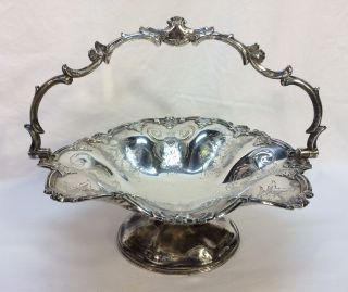 Antique James Dixon & Sons Sheffield Engraved Silver Plate Basket Bowl photo