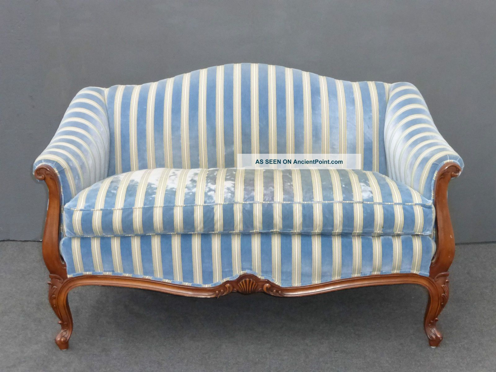 Karges Blue Velvet Camel Back Settee Loveseat With Goose Down Feathers Post-1950 photo