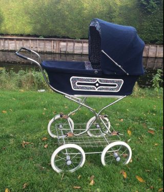 Vintage Zekiwi Baby Doll Pram Carriage Buggy Stoller Blue photo