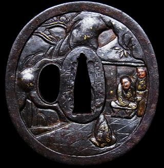 "Signed Tsuba 18 - 19th C Japanese Edo Antique Sword Fitting ""chinese Story"" C819 photo"