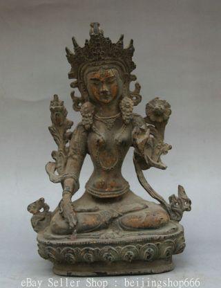 13cm Old China Bronze Buddhism White Tara Spirit Of Compassion Goddess Statue photo
