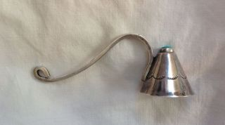 Vintage Hand Made Navajo Sterling & Turquoise Candle Snuffer Curved Handle photo
