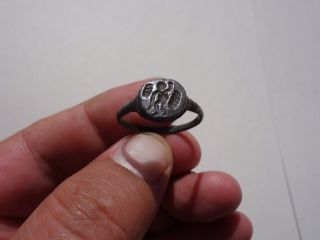 Late Roman - Byzantine Bronze Soldier ' S Seal Ring,  Displayed God Cupidon photo