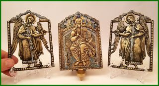 Russia Orthodox Bronze Icons Triptych Deesis.  First Half Of Xx Century.  Enameled photo