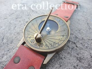 Vintage Style Nautical Brass Sundial Compass Marine Wrist Watch W/leather Strap photo