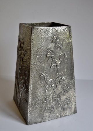 Antique Arts & Crafts Hammered Pewter Stick Stand photo