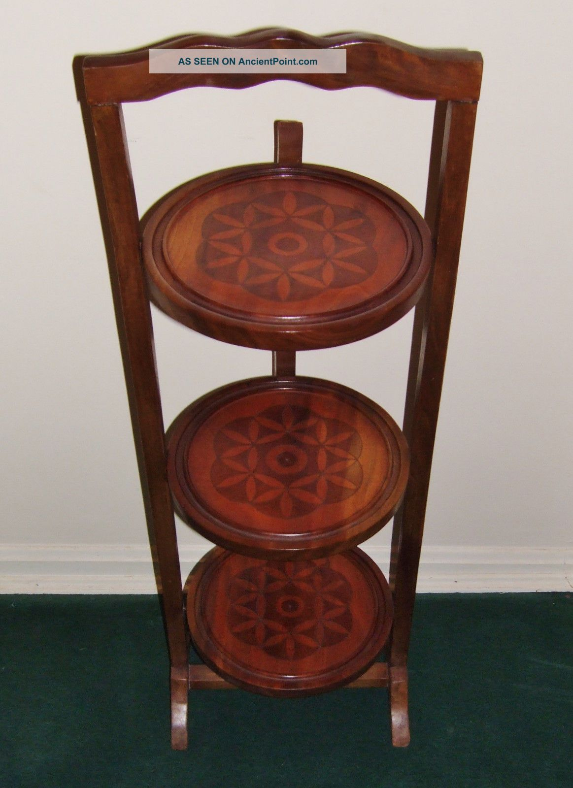 Antique Folding 3 Tier Cake Pie Display Plant Stand Hand Carved Hardwood 1900-1950 photo