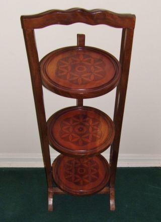 Antique Folding 3 Tier Cake Pie Display Plant Stand Hand Carved Hardwood photo