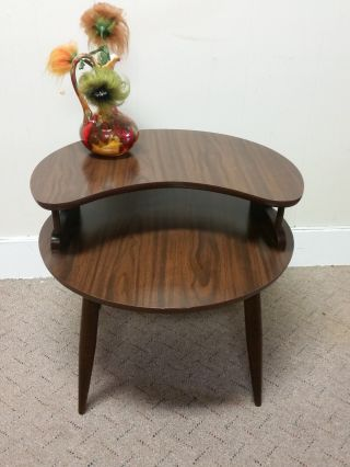 Mid Century Modern Side Table Wood Round Shelf End Table Nightstand Retro photo
