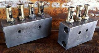 (2) Vintage Brass Manifold Valve Farval Usa Steampunk Industrial Metal Art Dm34 photo
