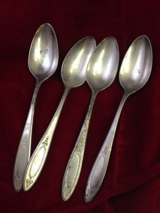 1917 Antique Adam Oneida Community Plate 4 Teaspoons Flatware Spoons photo