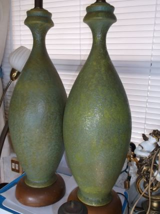 Pair Mid Century Modern Olive Green Lava Glaze Table Lamps. photo