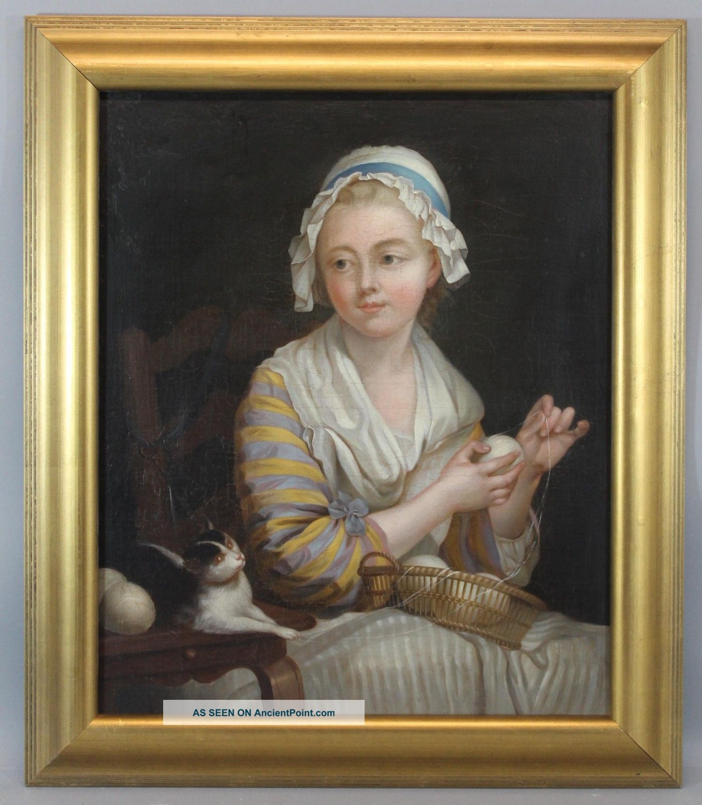 Large Antique Early 19thc Portrait Genre Oil Painting,  Young Girl W/ Cat & Yarn Other Antique Sewing photo