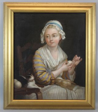 Large Antique Early 19thc Portrait Genre Oil Painting,  Young Girl W/ Cat & Yarn photo