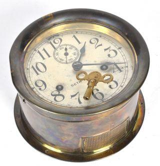 Vintage Antique Seth Thomas Brass Maritime Boat Ships Clock Runs W/ Key 7