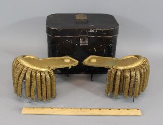 Antique Civil War Period Navy Lieutenant Commander Gold Epaulets & Tin Tole Box photo