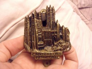 Vintage Brass Door Knocker - Canterbury Cathedral Miniature Nicely Detailed photo
