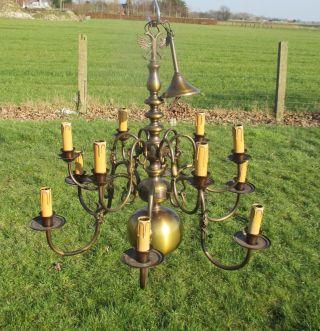 Antique Flemish Dutch Double 12 Arms Chandelier Pendant Lights Brass Eagle Fish photo