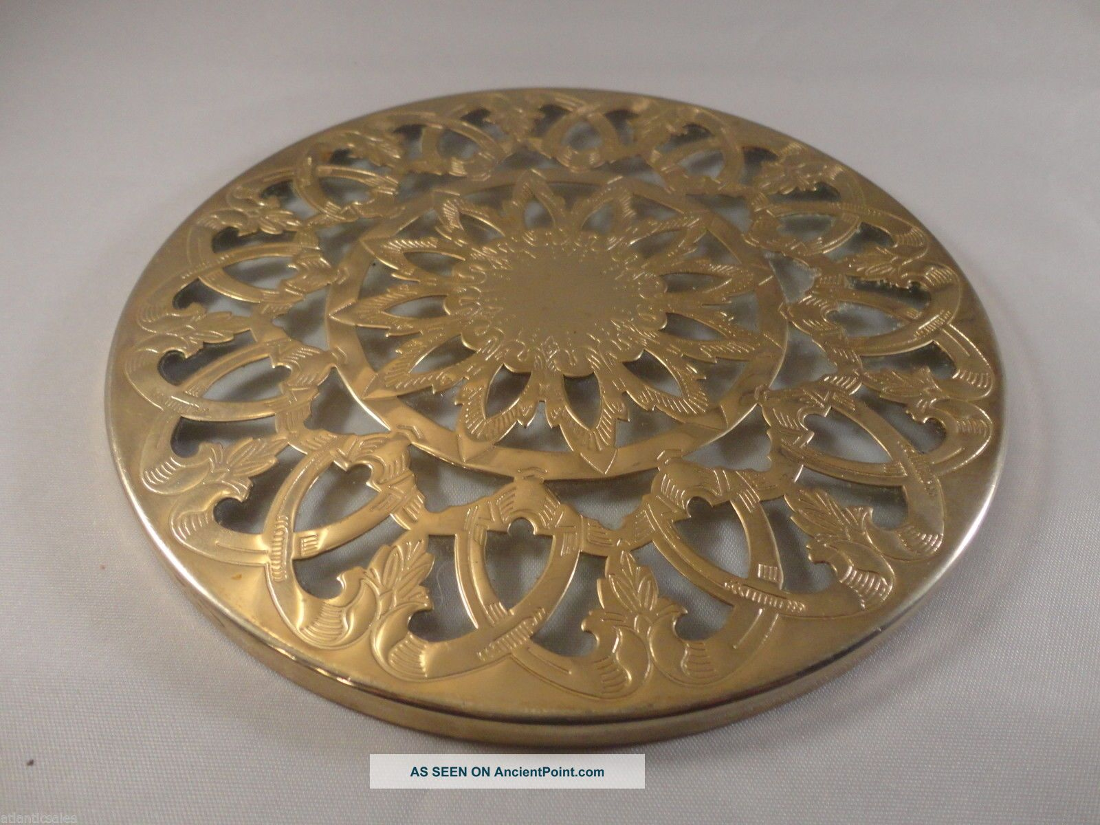 Silver Plated Glass Trivet Round Vintage 1920s Trivets photo