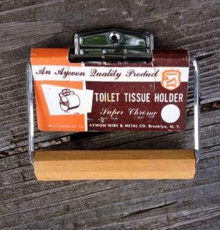 Vintage 50 ' S 60s Aywon Chrome Toilet Paper Tissue Holder Wooden Roller photo