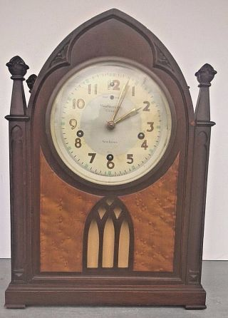 Rare 1937 Haven Cloister Mantle Clock 8 Day Time & Strike Westminster Chime photo